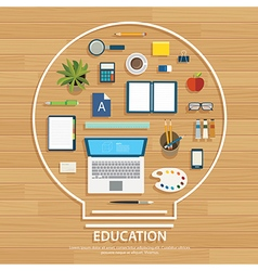 Education and learning background on light bulb vector