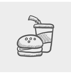Fast food meal sketch icon vector image