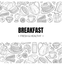 fresh and healthy breakfast and brunches top view vector image