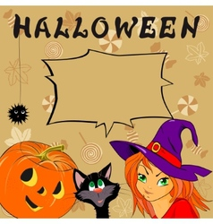 Funny card with Halloween vector image