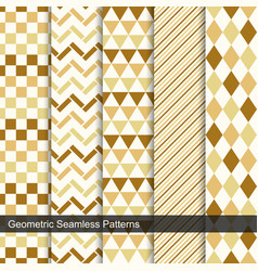Geometric seamless patterns in retro colors vector