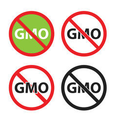 gmo free sign set non gmo icons vector image