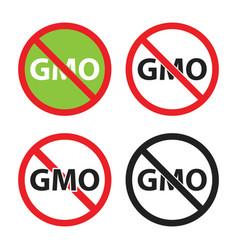 gmo free sign set non gmo icons vector image