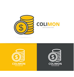 Gold coin logo unique cash and bank vector