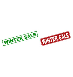 grunge winter sale stamp seals with rounded vector image