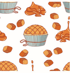 hand drawn seamless pattern with doodle cupcake vector image