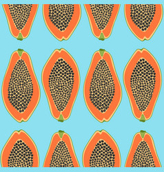 hand drawn seamless pattern with papayas vector image