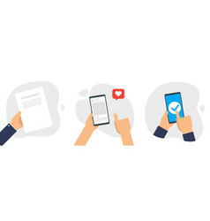 hand holding smartphone touching screen set vector image