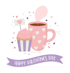 happy valentines day chocolate cup and sweet vector image