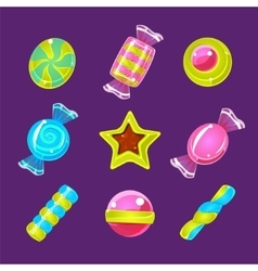 Hard Candy Colorful Simplified Icons Set vector