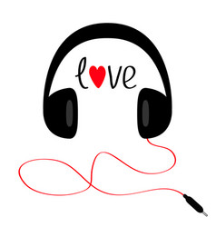 headphones with cord cable and word love red vector image