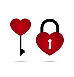 Heart lock and heart key vector