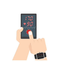 high blood pressure concept smart phone and smart vector image
