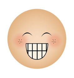 Human face emoticon happines expression vector