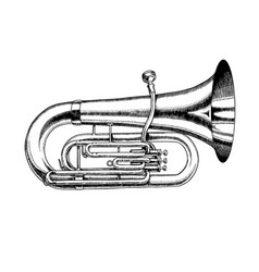 Jazz tuba in monochrome engraved vintage style vector
