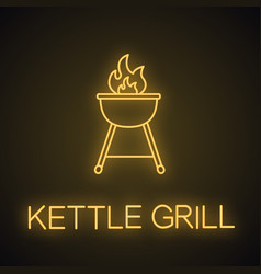 Kettle barbecue grill neon light icon vector