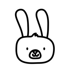 kids toy cute rabbit face furry animal icon thick vector image