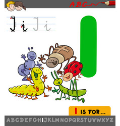 Letter i with cartoon insect characters vector