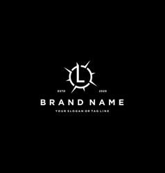 Letter l compass logo design vector