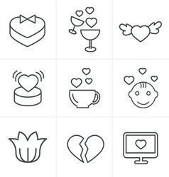 Line Icons Style love Icons Set Design vector image
