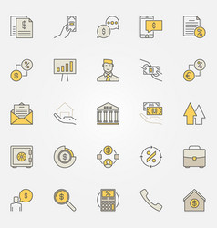 Loan colorful icons vector