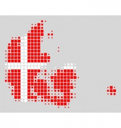 map and flag of Denmark vector image