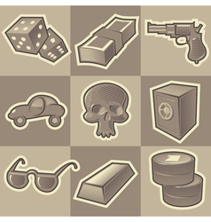 Monochrome gangsta icons vector image
