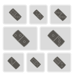 monochrome icons with dominoes vector image