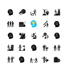Motivation black glyph icons set on white space vector