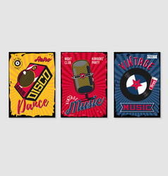 music poster sets vintage backgrounds collection vector image