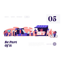 Newspaper producing stages website landing page vector