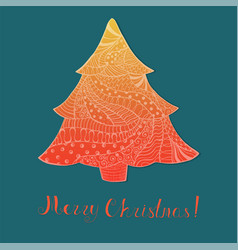 Orange christmas tree with pattern and lettering vector