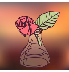Origami paper vintage style rose handmade drawing vector image