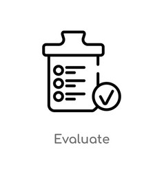Outline evaluate icon isolated black simple line vector