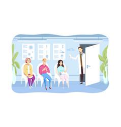 patient examination queque medicine concept vector image