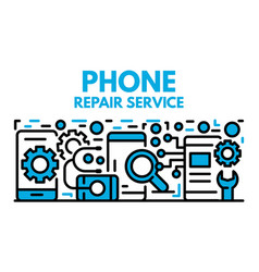 Phone repair service banner outline style vector