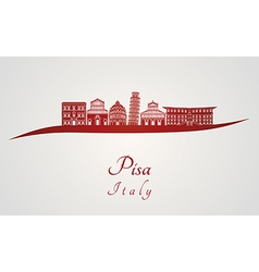 Pisa skyline in red vector image