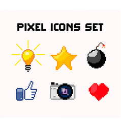 pixel icons set vector image