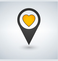 pointer pin with yellow heart web design element vector image