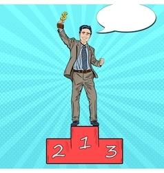 Pop Art Businessman Holding Golden Winners Cup vector