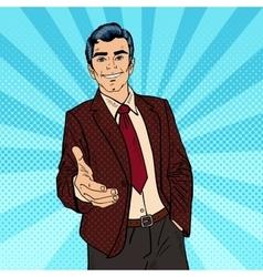 Pop Art Successful Businessman Handshake vector image