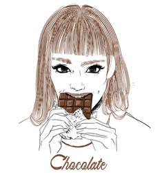 portrait of young woman portrait eat chocolate vector image