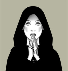 Praying woman with a rosary in her hands vector