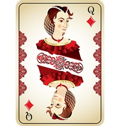 Queen diamonds from a pack playing cards vector
