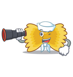 Sailor with binocular farfalle pasta mascot vector
