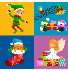 Santa Claus snowman hats children enjoy winter vector image