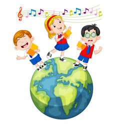 School children singing on the globe vector