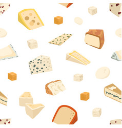 seamless pattern with different cheese slices vector image