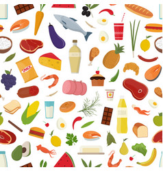 Seamless pattern with grocery food on on white vector