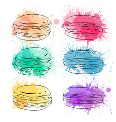 Set contour drawing macaroon with colorful vector